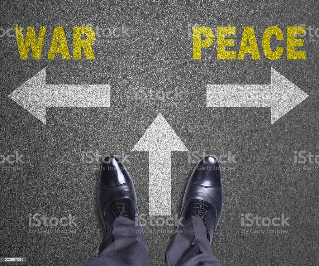 Decision at road - War or Peace stock photo
