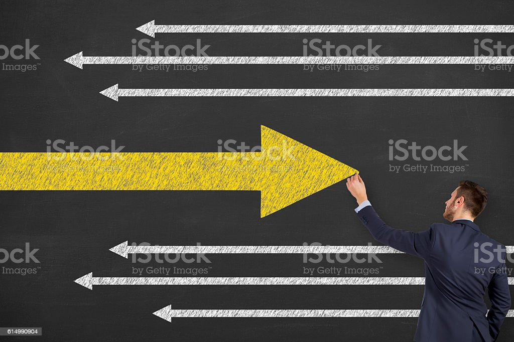 Decision Concept on Chalkboard stock photo