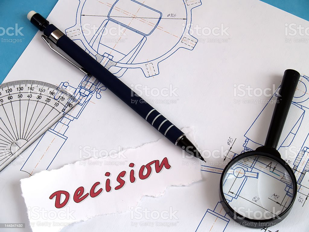 Decision, magnifier, pencil on draught royalty-free stock photo