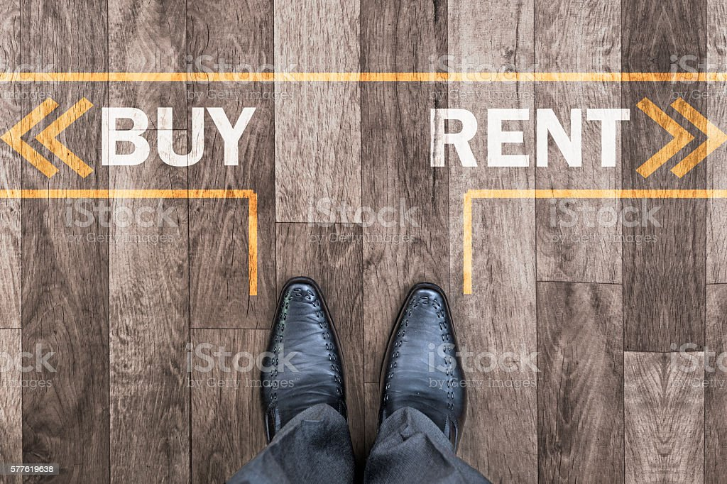 Decision making on buy or rent stock photo