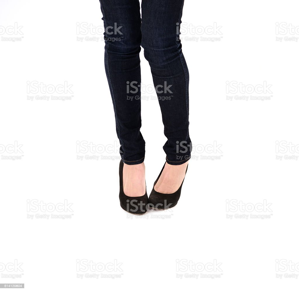 Decision making young woman, insecure, and shoes stock photo