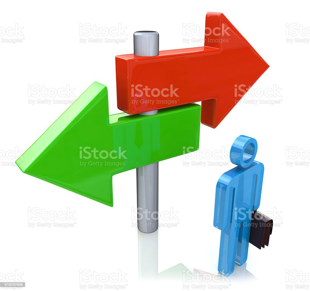 Decision time for career with man at a cross roads stock photo