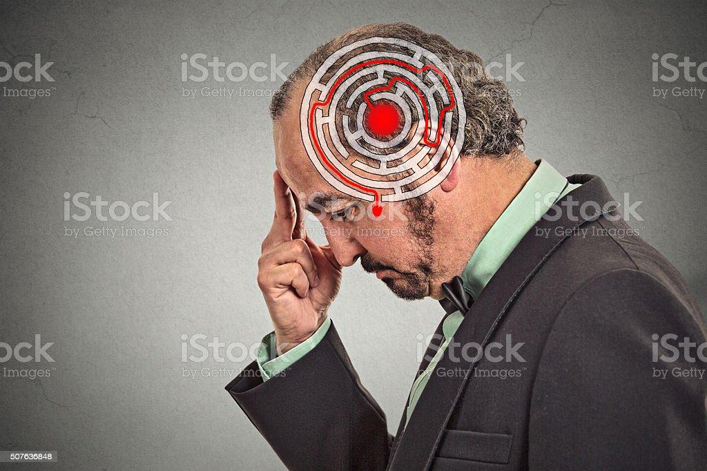 Decision wisdom strategy concept. Man solving problem thinking stock photo