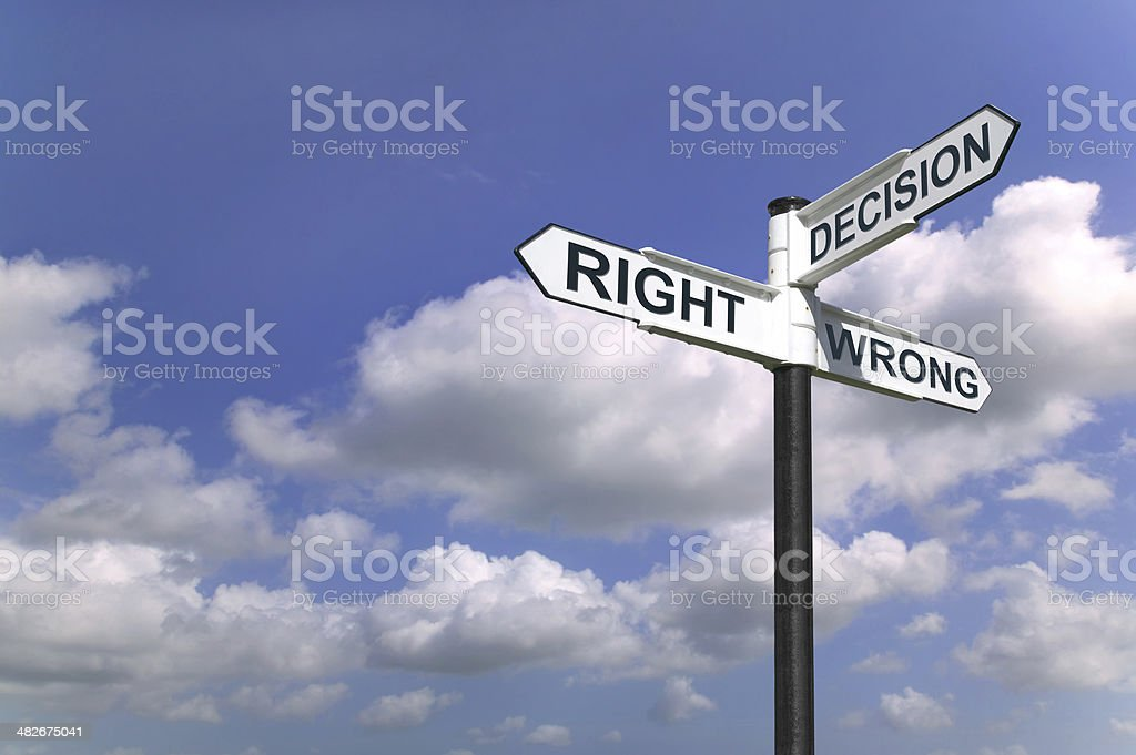 Decisions sign in the sky stock photo