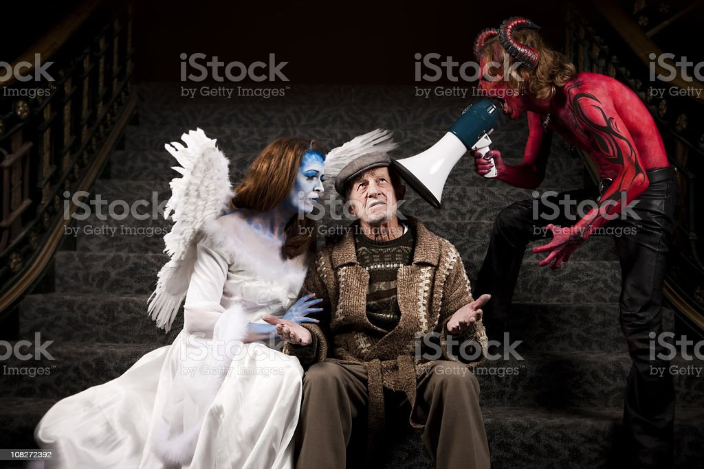 Decisions-Good vs. Evil stock photo
