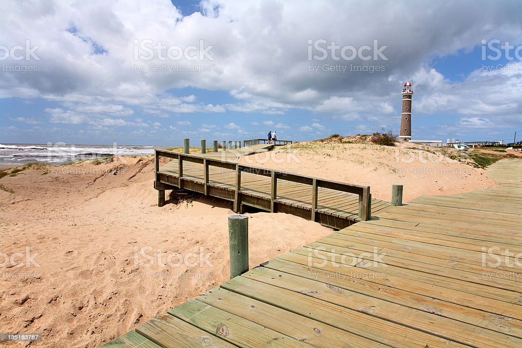 Deck and  lighthouse (Jose Inacio -  Punta Del Este) royalty-free stock photo