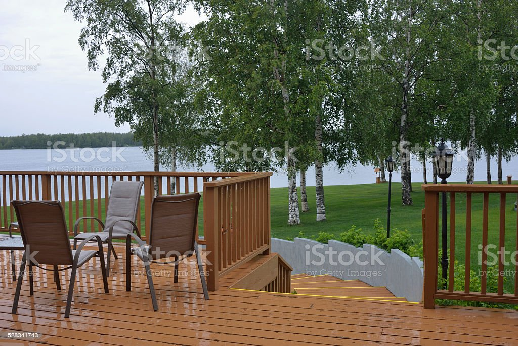 Deck by Lake in Wasilla of Alaska stock photo