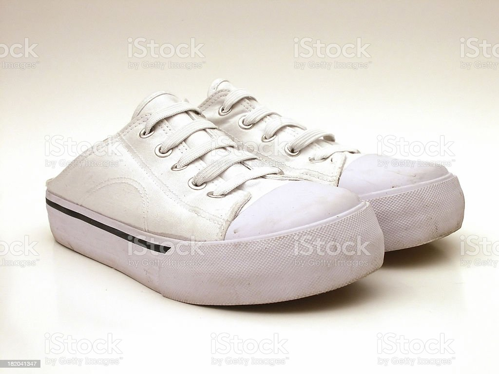 Deck canvas shoes on white background royalty-free stock photo