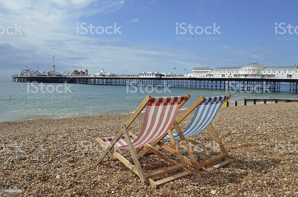 Deck chair on a beach stock photo