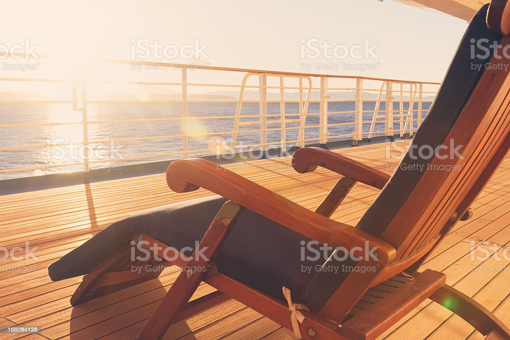 Deck Chair on a Cruise Ship stock photo