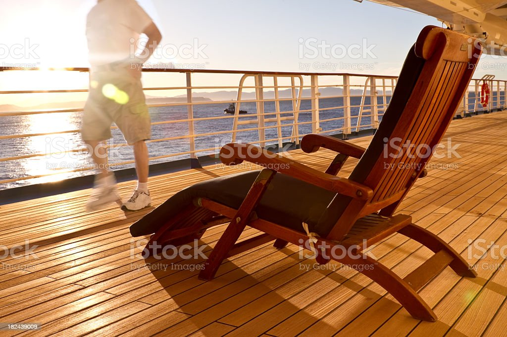 Deck Chair on a Cruise Ship with Runner royalty-free stock photo