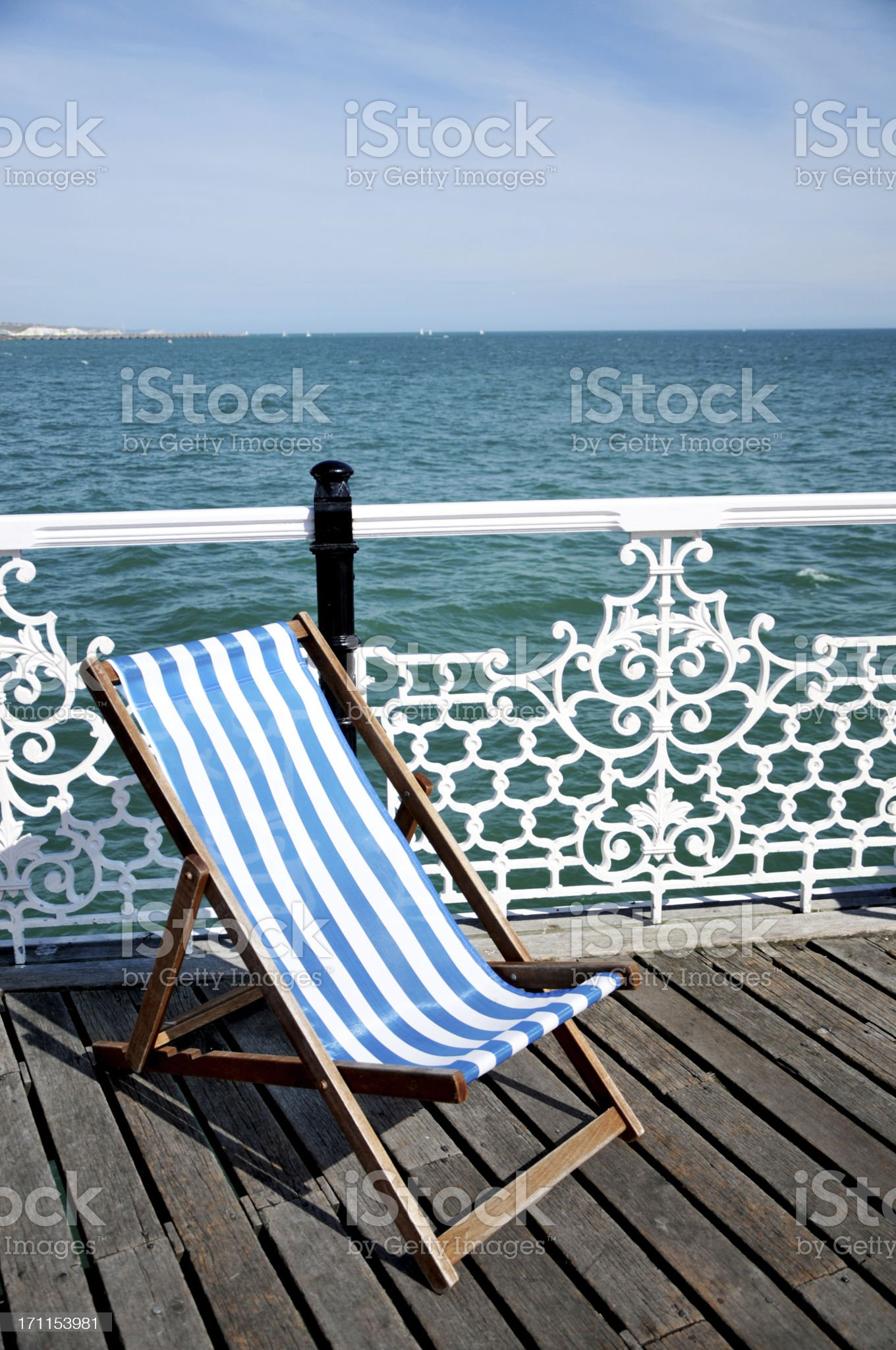 Deck Chair On Pier royalty-free stock photo