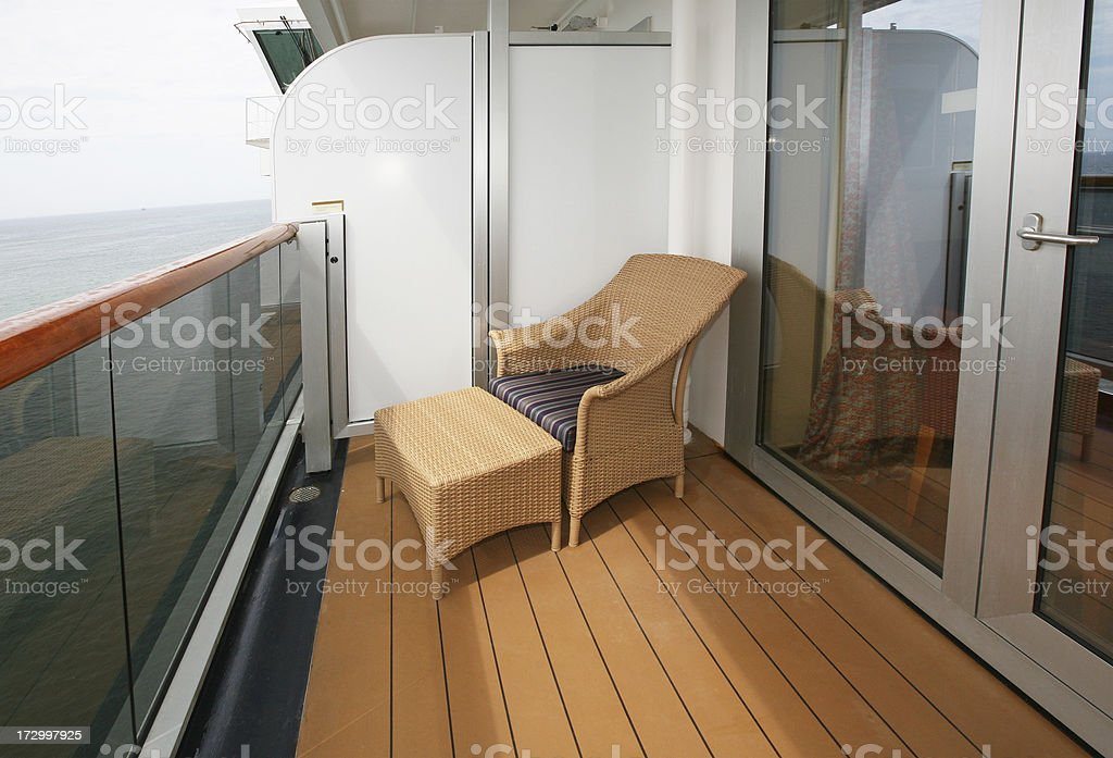 Deck Chair On Ship's Balcony royalty-free stock photo