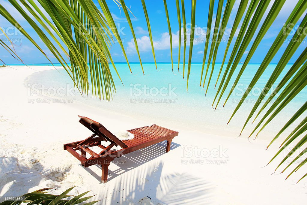 Deck chair on the beach. royalty-free stock photo