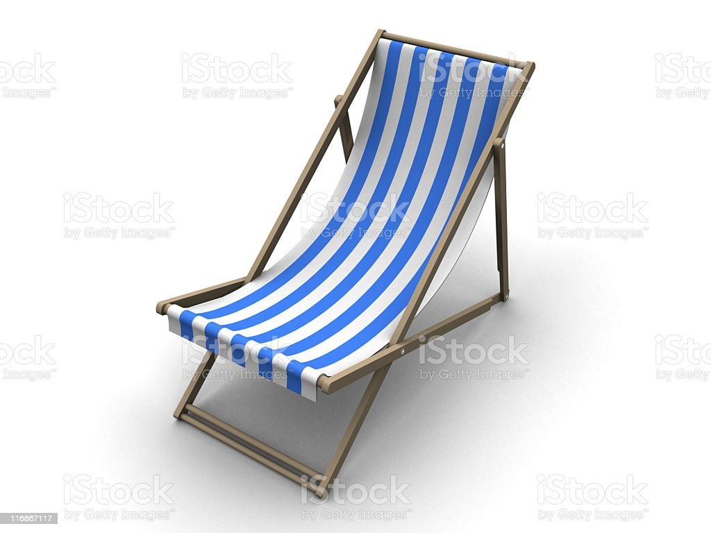 Deck chair with white and blue stripes royalty-free stock photo