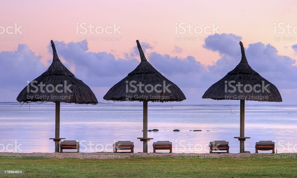 Deck Chairs at Dawn royalty-free stock photo