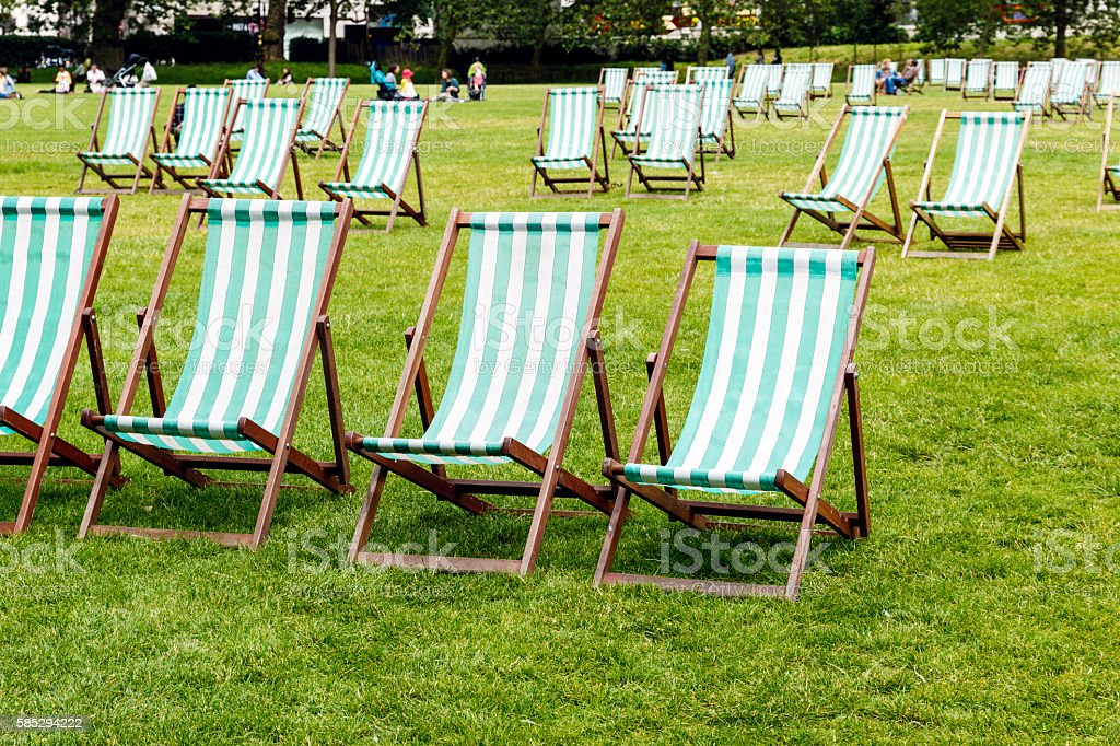 Deck Chairs in Green Park stock photo