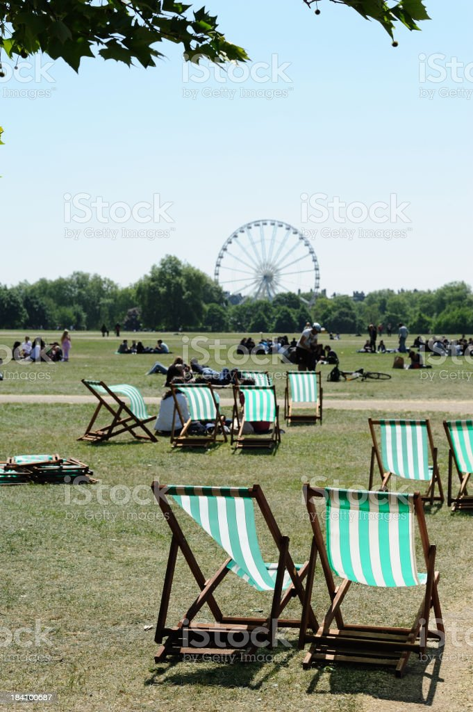 Deck chairs in Hyde Park stock photo