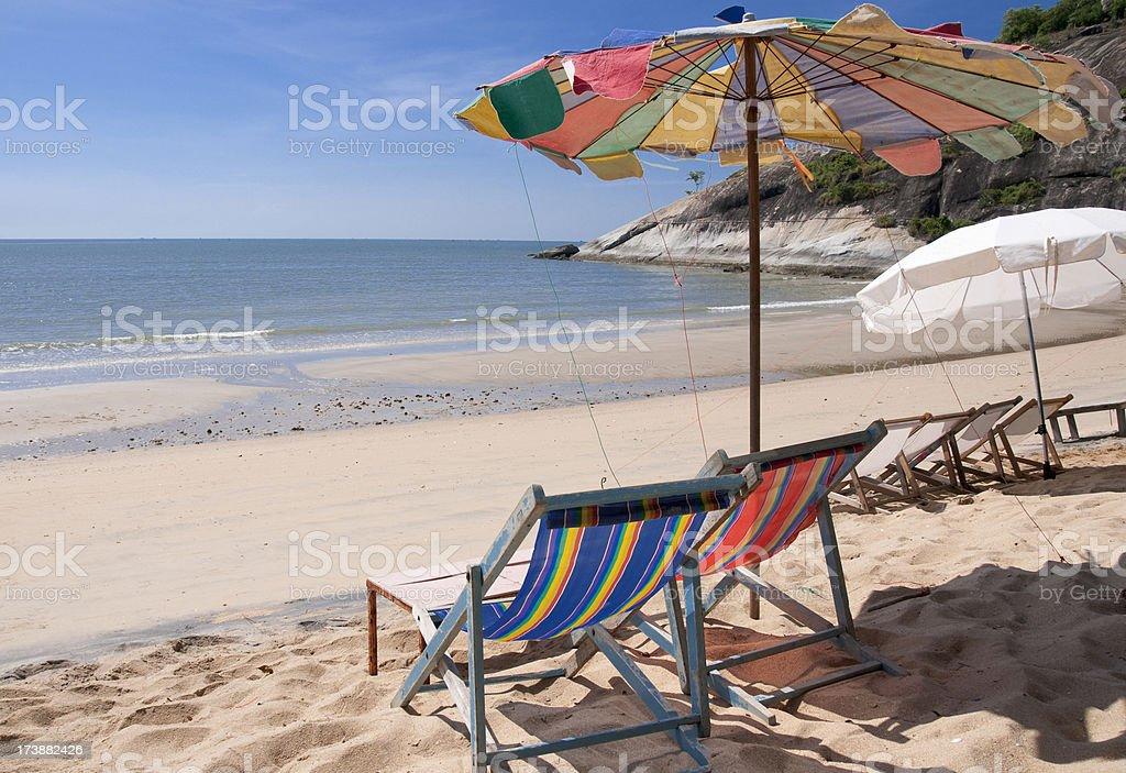 Deck Chairs On Sai Noi Beach Near Hua Hin, Thailand royalty-free stock photo