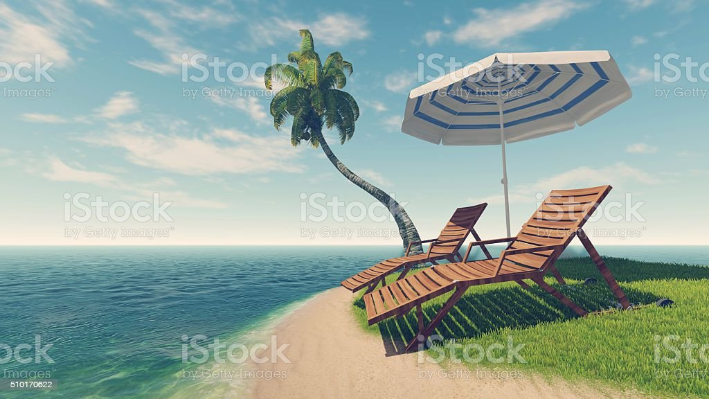 Deck chairs, parasol and palm tree on tropical beach stock photo