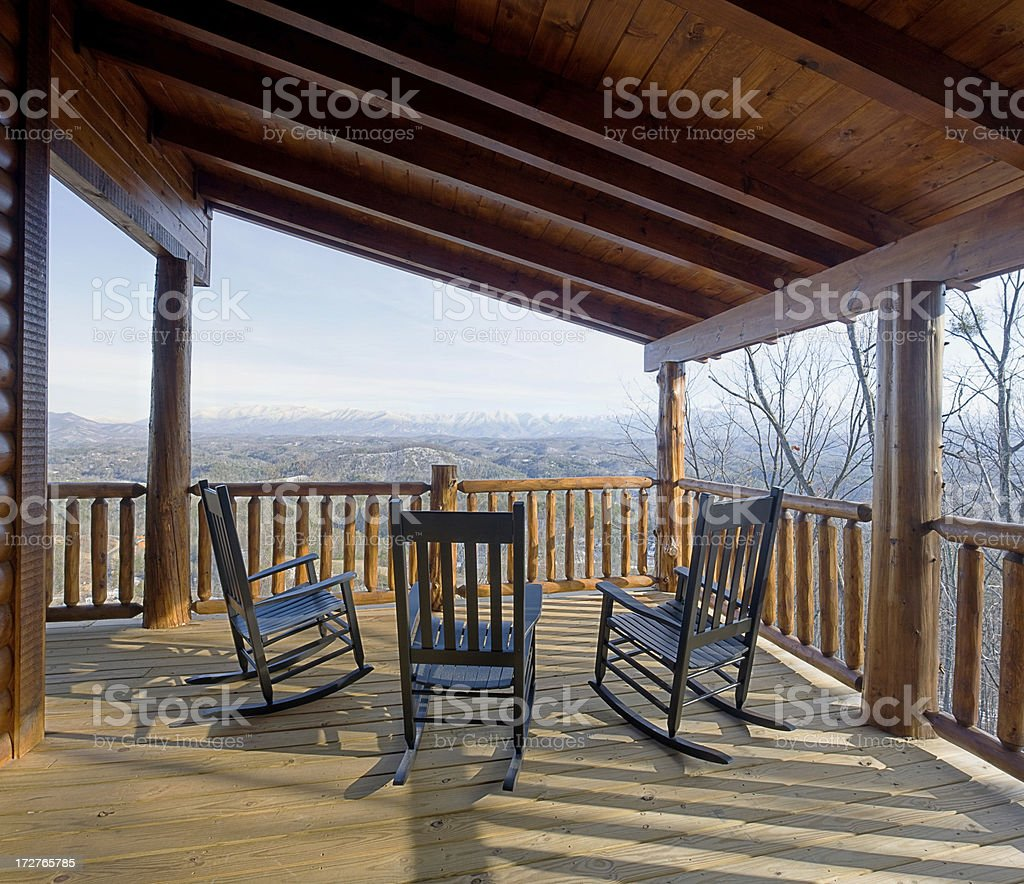 Deck chairs waiting, with a snowy view (XXL) royalty-free stock photo