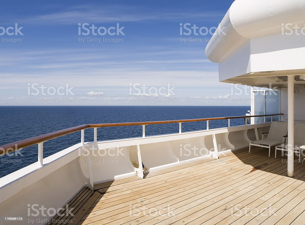 Deck of a cruise on sunny day stock photo