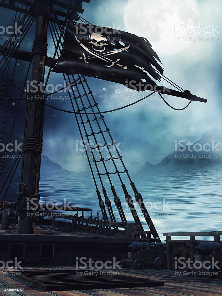 Deck of a pirate ship vector art illustration