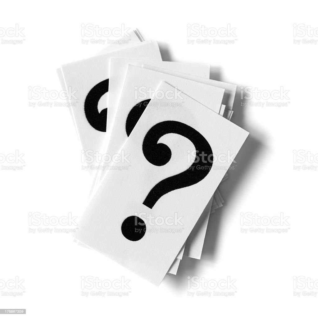 Deck of flash cards in pile with question marks on cards stock photo