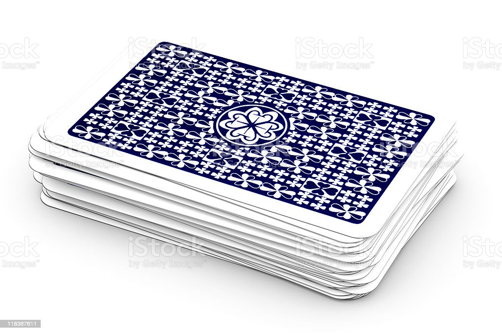 Deck of playing cards isolated on white background stock photo