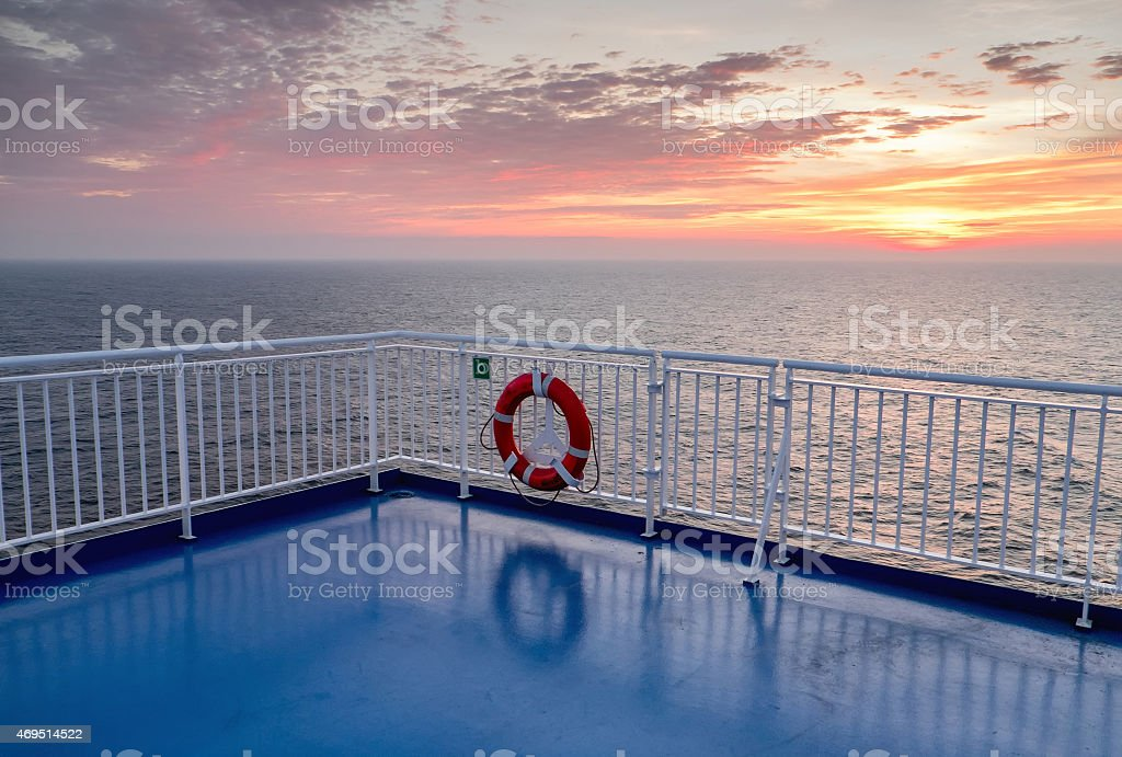 Deck of the Cargo passenger ferry stock photo