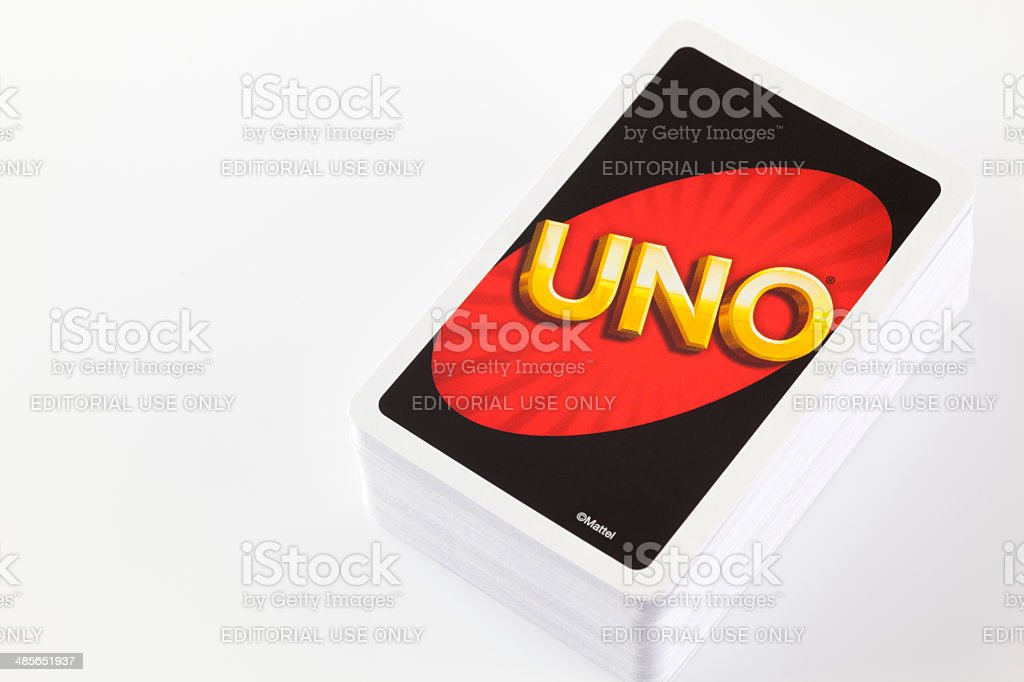 Deck of UNO game cards stock photo