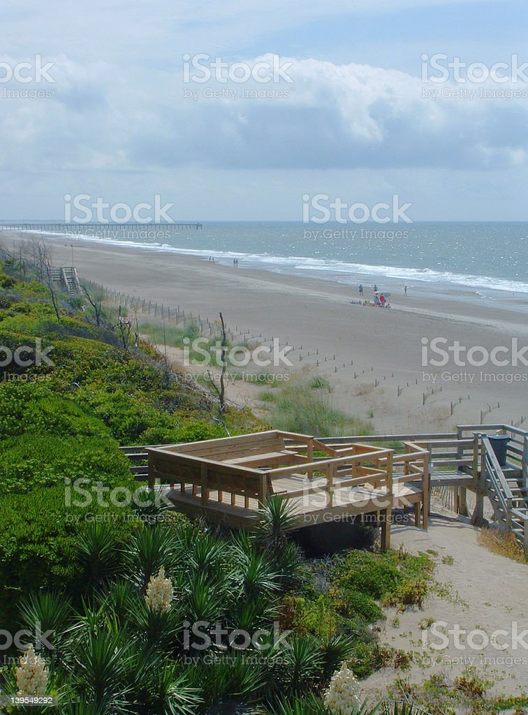 Deck on resort's beach royalty-free stock photo