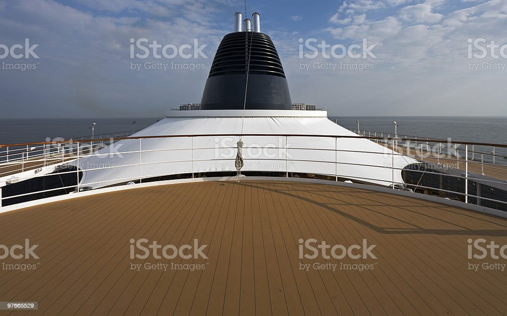 Deck on the big cruise ship royalty-free stock photo