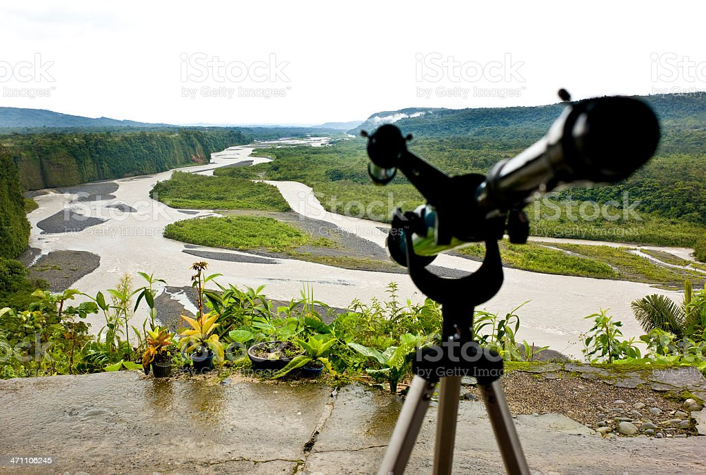 Deck over Napo River in Ecuador stock photo