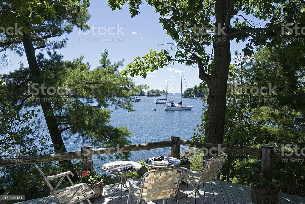 Deck Overlooking St. Lawrence River in Gananoque, Ontario royalty-free stock photo