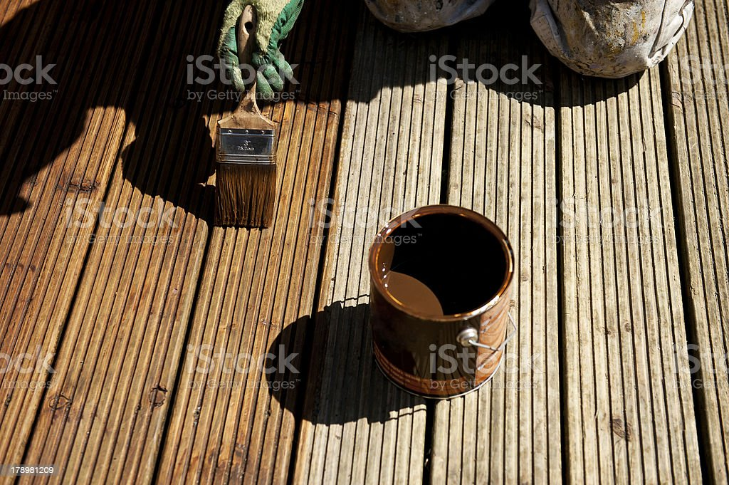Deck painting stock photo