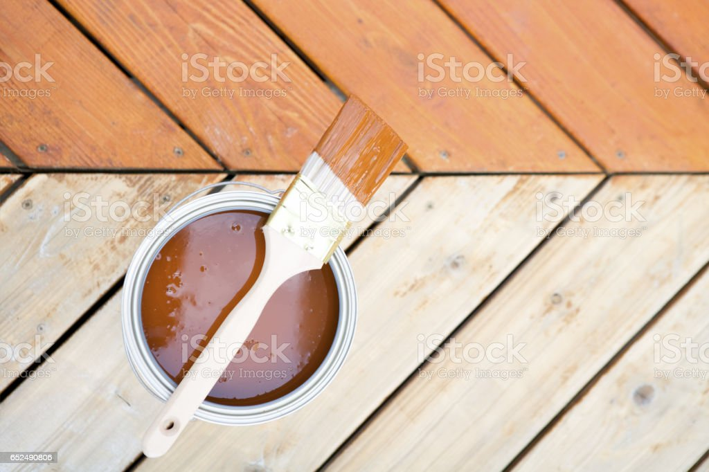 Deck stain before and After stock photo