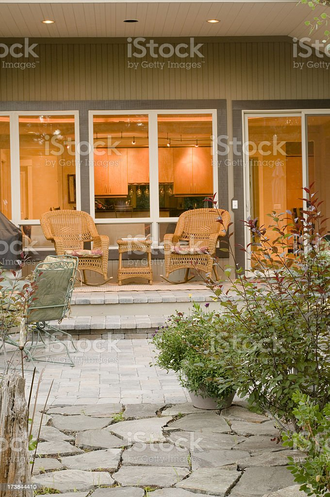 Deck with pavers and stone royalty-free stock photo