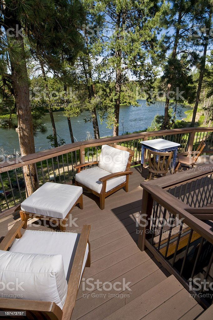 Deck with river view royalty-free stock photo