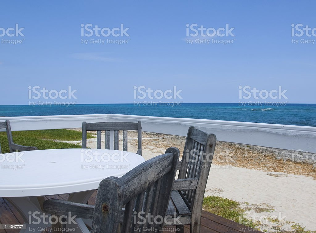 Deck with sea view stock photo