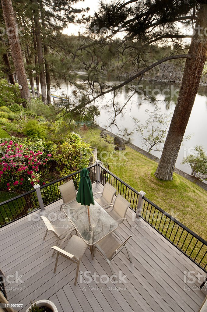 Deck with view of river stock photo