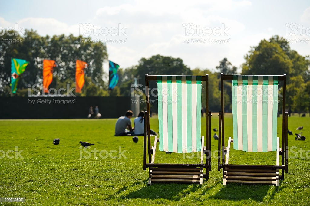 Deckchair freely in Hyde Park in London stock photo