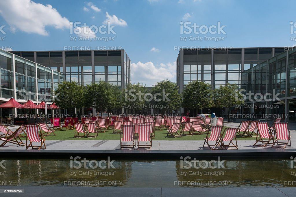 Deckchairs in Milton Keynes, The Centre stock photo
