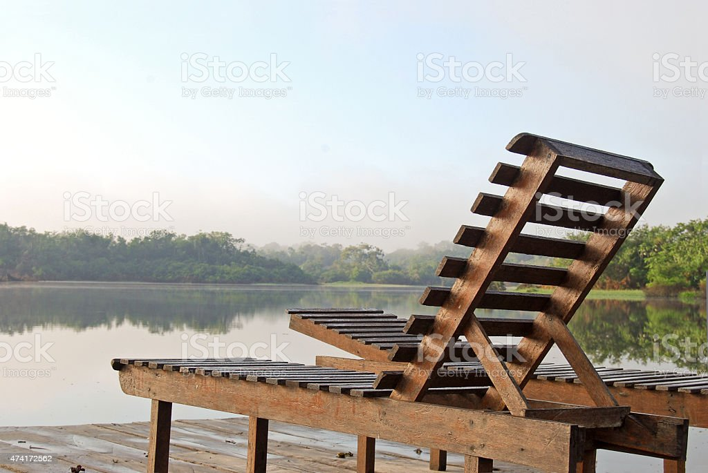 Deckchairs on a lookout point in the Amazon rainforest, Brazil stock photo