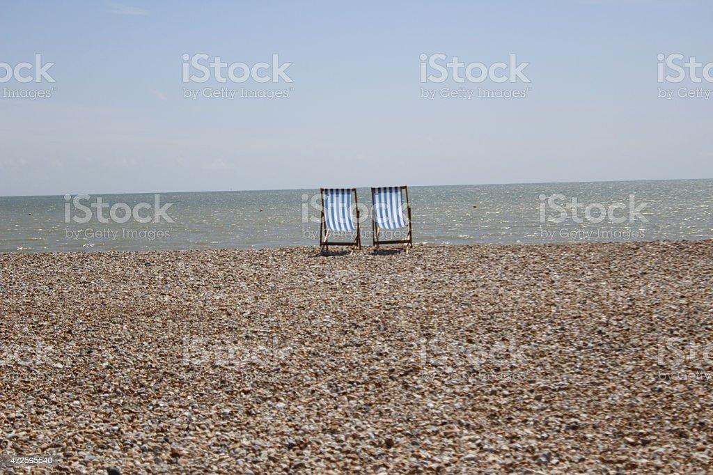 Deckchairs stock photo