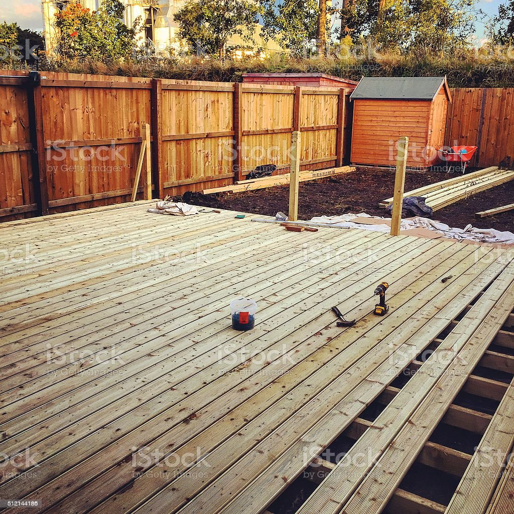 Decking installation stock photo