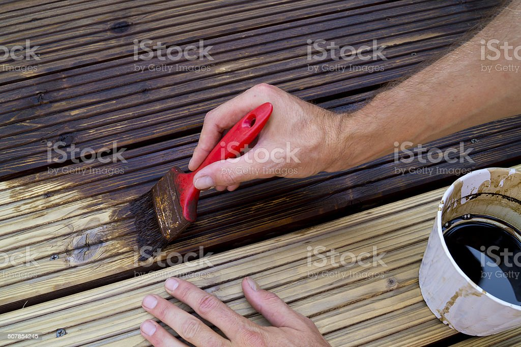 Decking & oil stock photo