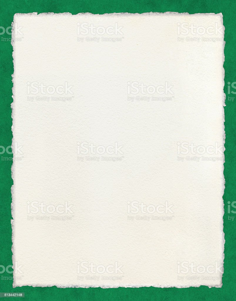 Deckled Paper on Green stock photo