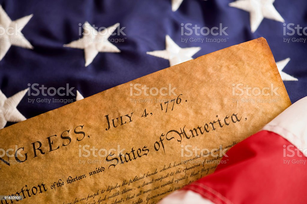Declaration and American Flag stock photo