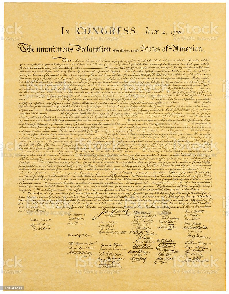 Declaration of Indepedence stock photo